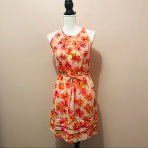Loft Floral Sundress w/Tiered Skirt and Tied waist